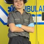 A paramedic, closing the door of the ambulance. — Stock Photo #63886455