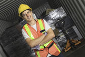 A worker who recycling thing on recycle center — Stock Photo