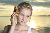 Summer joy with sunflower on the ear — Stockfoto