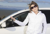 Car. Woman driver happy smiling — Stock Photo