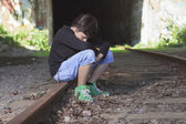 A sad teen depress at a tunnel — Stock Photo