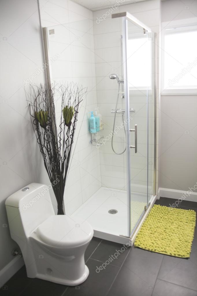 Bagno moderno con doccia in una casa — Foto Stock © Lopolo #65238427