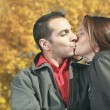 A loving couple sitting on bench in autumn background — Stock Photo #65378395