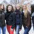 A Group of excited young girl friends outdoors in winter — Stock Photo #65382339