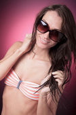 A young beautiful female with bikini clothes — Stok fotoğraf