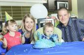A Happy one Year Birthday with a smash the cake — Stock Photo