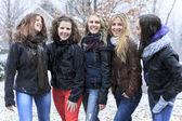Группы друзей возбужденных молодых девушка на улице в зимний период — Стоковое фото