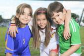 Childen play soccer on summer season — Stock Photo