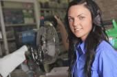 A sales assistant portrait in home appliance shop supermarket st — Stock Photo