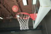 Basketball basket with all going through net — 图库照片