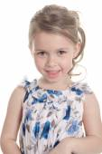 Portrait of a 5 year old girl isolated on white background — Stock Photo