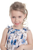 Portrait of a 5 year old girl isolated on white background — Foto de Stock