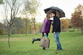 A Young happy couple in autumn season — Stock Photo