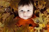Doux bébé riant, jouant avec une énorme citrouille coiffé d'un chapeau citrouille tricoté sur fond blanc — Photo