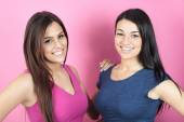 Two young woman pink — Foto de Stock