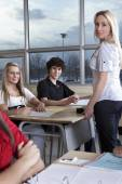 School class with student and teacher. — Stock Photo