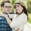 Young couple in the old part of town — Stock Photo #76806711