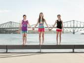 Happy children jumping — Stock Photo