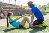 Happy teen doing training workout and sport activity — Stock Photo