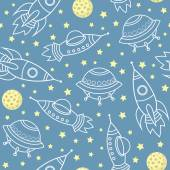 Vector seamless pattern with space rockets, stars, planets, spaceships — Stock Vector