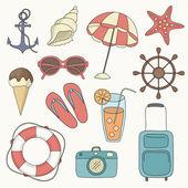 Vector set of beach icons — Stock Vector