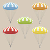 Vector set of  parachutes — Stock Vector