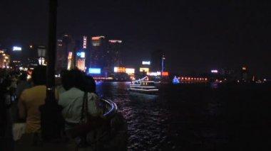 ShanghaiSkylineat Night — Stock video
