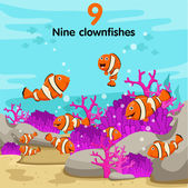 Illustrator of number with nine clown fish — Stock Vector