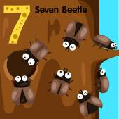Illustrator of number seven beetle — Vector de stock
