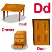 Illustrator of D alphabet — Stock Vector