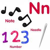Illustrator of N alphabet — Stock Vector