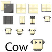Illustrator of cow origami — Stock Vector