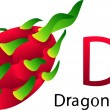D Font with dragon fruit — Stock Vector #65357481