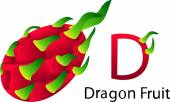 D Font with dragon fruit — Vettoriale Stock