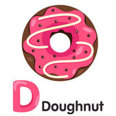 Illustrator of D font with donut — Wektor stockowy