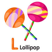 Illustrator of L font with lollipop — Stock Vector