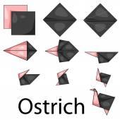 Illustrator of Ostrich origami — Stok Vektör