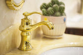 Closeup of water-supply faucet isolated in modern bathroom — Stock Photo