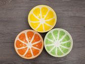 Colored empty bowl on wood background — Stock Photo