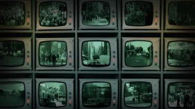CCTV Wall Of Monitors Watching City — Stock Video
