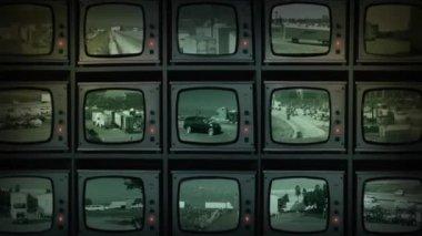 CCTV Wall Of Monitors Watching Road Traffic — Stock Video