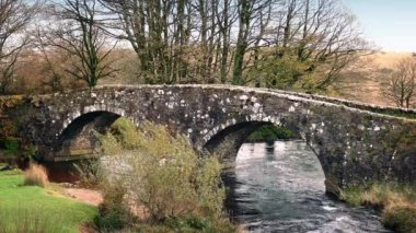 Old Stone Bridge Over River — Stock Video