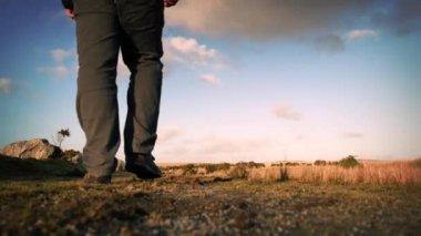 Man Walks On Hilltop — Stock Video