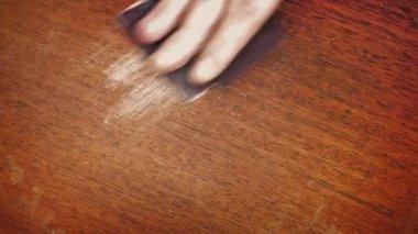 Hand Sanding A Wooden Surface — Stock Video