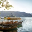 Boats at the shore of Bled Lake in Slovenia — Stock Photo #56915097