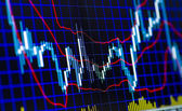 Technical analysis of stock exchange shares and forex — Stock Photo