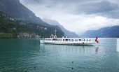 Ferry near Brunnen town in Switzerland — Fotografia Stock