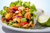 Close up of a kebab with chicken — Stock Photo