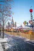 Christmas village fair on Red Square in Moscow — Stock Photo