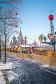 Christmas village fair on Red Square in Moscow — Foto Stock